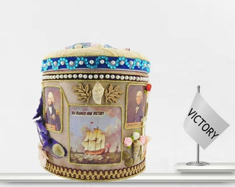 """Toy bin for boys """"Victory"""". Birthday gift idea for boys """"The Battle of Trafalgar """". Luxury wrapped gift with personalized event Tag."""