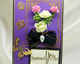 """Luxury Compassion card """"Thinking of you"""". Custom, personalized card of support for loss of Mother, Father, Husband, Family member."""