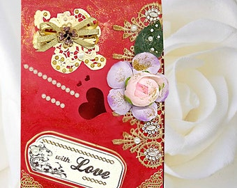 Custom card box With Love for women with pearls, lace and fabric rose for any special occasion - Mothers Day, Birthday, Engagement .