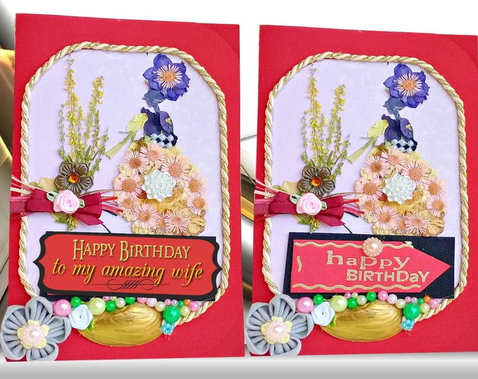 Featured listing image: Dried flowers cards. Flower girl. Happy birthday cards. Card for her. Sister birthday card. Girlfriend birthday. Mom birthday cards.