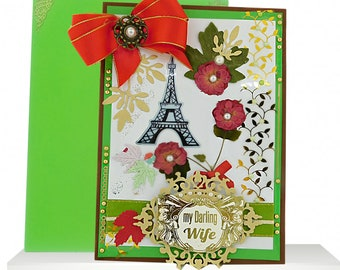 Custom card for wife with real red roses and the Eiffel Tower. Personalized, Modern card for friend, Fiance, Partner: You are My Star.