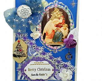 Luxury Merry Christmas family greetings. Custom, Personalized Christmas card in noble silver design with lot of pearls, lace and flowers.