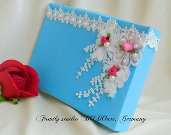 Gift box for couple. Gift box for bride. Luxury paper box. Birthday gift box.  Gift wrap. Decorative box. Handmade wrapping.
