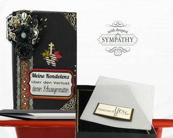 Grieving box. Custom black box to send your deep sympathy at a loss of family member. Personalized, Velvet framed box for memory favors.