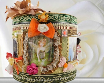 Victorian style gift box for girls and kids. Fairy gift basket with elves, gift wrapped with a name tag. BodoArt design box  for child.