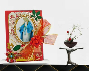 Christian, red, greeting box with the Virgin Maria, trimmed with pearls and ribbons. Custom, personalized box set for Baptism, Confirmation.
