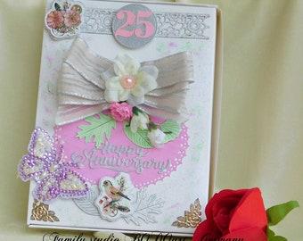 Silver Anniversary. Anniversary gift. Card box for couple. Gift package. 25th Anniversary. Gift for couple. Anniversary present.
