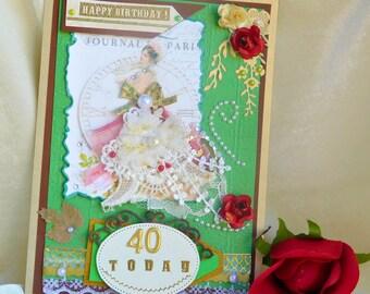 Happy Birthday card. 40th Birthday card. Cute Birthday card. Card for wife. Mom Birthday card. Personalised card. Retro pattern card.