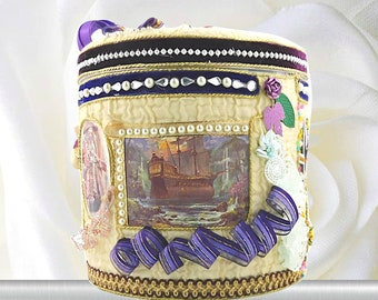 """Birthday gift box for boys. Adventure toy storage """"Pirates and ships"""" with royal purple ribbons. Gift wrapped, Personalized with event Tag."""
