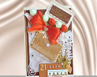 Birthday card. Custom, Personalized card for 21st Birthday of Daughter, Sister, Girlfriend. Card in Oak brown design with golden lettering.