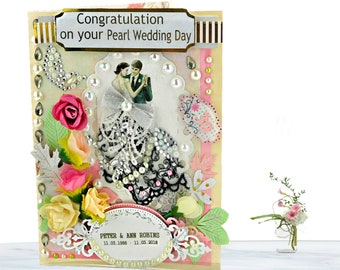 Pearl Anniversary card for couple, Parents, Friends. Heart moving, Handmade, Personalzed card in modern pink, layed with lace and pearls.