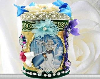 "Wonderland gift box ""The Ice Queen and the Sea Queen"". Mythical creatures gift idea for girls and kids in marine blue, personalized ."