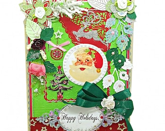 Personalized, custom Happy Holidays card. Enchanting St Nicolaus Christmas card with ribbons and pearls for friends and family.