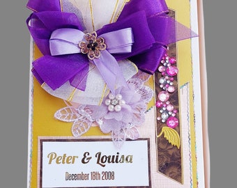 Personalized Wedding Gift Box in purple and gold.  Anniversary gift Box . Luxury gift for couple, friends, parents. Ellegant Birthday gift.