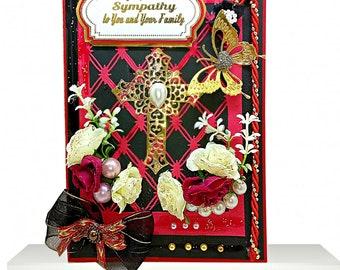 Elegant Sorrow card for loss of family member. Custom, Personalized Sympathy card. Heartfelt Christian Condolences card , BodoArt design.