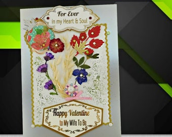 Custom card for My Wife To Be. Elegant, pearl gray card for Fiancee, Girlfriend, Partner. Personalized love card with gold foil wording.