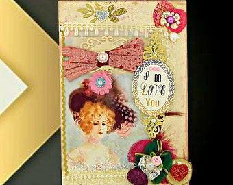 """Custom card for Wife, Fiancee, Girlfriend. Personalized card for women """"I Do Love You"""". Modern Retro card of love. Design BodoArt . Boxed."""