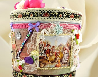 "Unique kids Treasure Box ""The Puss in Boots"". Luxury Toy storage bin for boys and kids with fairy design of studio BodoArt , gift wrapped."
