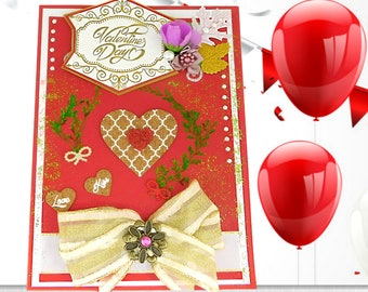 Custom card of love in Holland red with natural cork hearts, elegant ribbon and brooch. Multilingual with gold foil lettering. Card for her