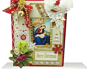 Personalized Merry Christmas box with Virgin Maria. Elegant gift box in red, embelished with lot of pearls, flowers and lace. Custom gift.