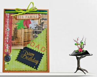 Birthday card for men. Custom card in Retro style for Dad, Husband, Grandpa. Fall Birthday with gold lettering inside. Boxed, Multilingual.