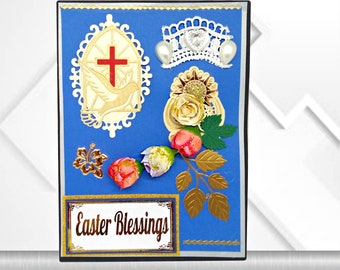 Custom Christian card with Church window and words of Blessing. Sky blue religious card with Cross and a Dove with fabric roses and pearls.