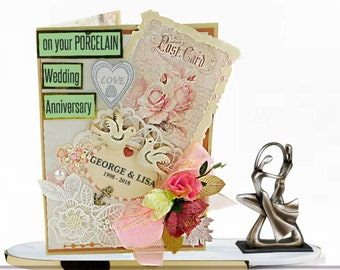 Mum and Dad Porcelain Wedding Anniversary card. Personalized card in pastel pink. Congratulations with love. Gifts for couple
