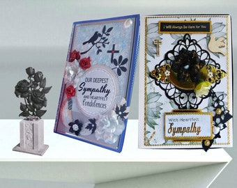 Sympathy cards. Beautiful blue-silver, personalized card to express compassion and support for loss of Husband, Son, Brother, Uncle. Boxed.