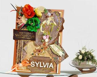 Fall Birthday card. Personalized card for woman Birthday. Retro, BodoArt design, milestone Birthday card. 50, 60, 70 Birthday card .