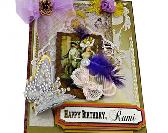 Birthday card. Sophisticated, Royal purple card for wife. Mom. Woman. Posh, Personalized, Custom card in a luxury box. Gold foil wording.