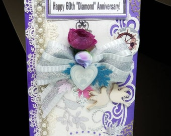 60th wedding anniversary card. Diamond wedding day cards  in noble blue, Pearls and Silver Bow. Boxed, Personalized card for couple.