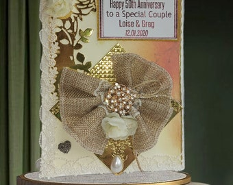 Beautiful, personalized Anniversary card for parents, couples and partners. Rustic  3D card  with a brooch, lace, silk rose and pearls.