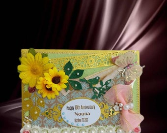 Milestone Birthday card for Friend, Wife, Sister, Mother. Personalized card with sunflowers and gold vintage decoration for special occasion