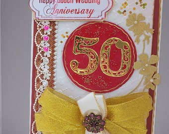 Personalized 50 Anniversary card.  Golden Wedding day card in pearl gold. Ellegant Card for 40, 50, 60 Anniversary of parents and friends.