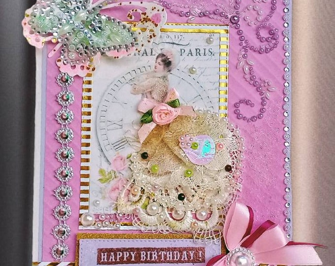 Featured listing image: Birthday card. Personalized and Custom Color greeting card for woman. Mom, Grandmother, Best Friend. Milestone Birthday card.