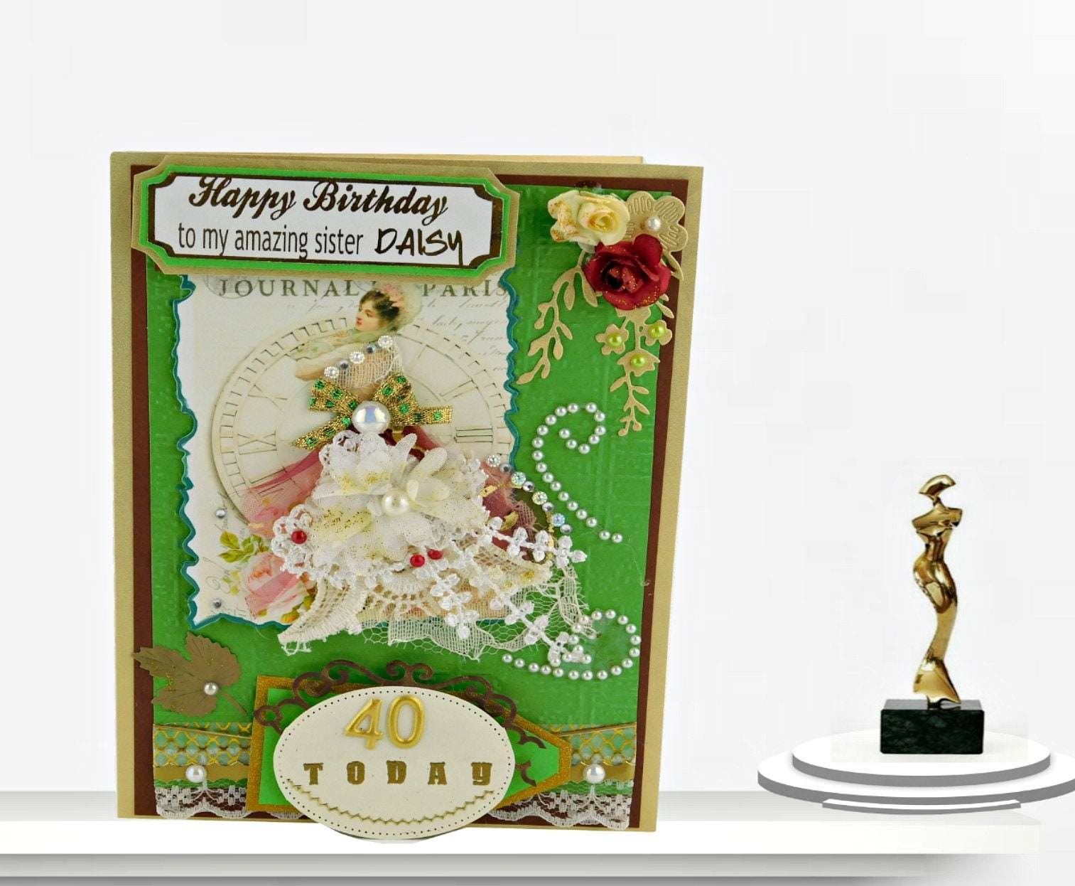 Personalized Birthday Card Custom Grass Green Vintage Style Multilingual 40th For Wife Mom Daughter Sister Boxed