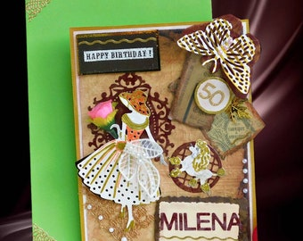 Elegant Retro card for her special day- Birthday, Mothers' Day, Engagement, Anniversary. Custom card with gold foil lettering.