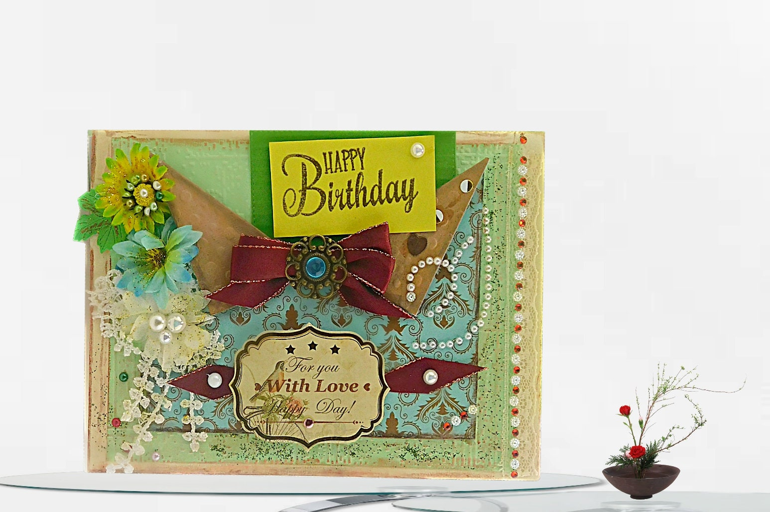 Happy Birthday Cards Autumn Colors Custom Card For Woman Mom Sister Best Friend Embossed With Foiled Inside Lettering