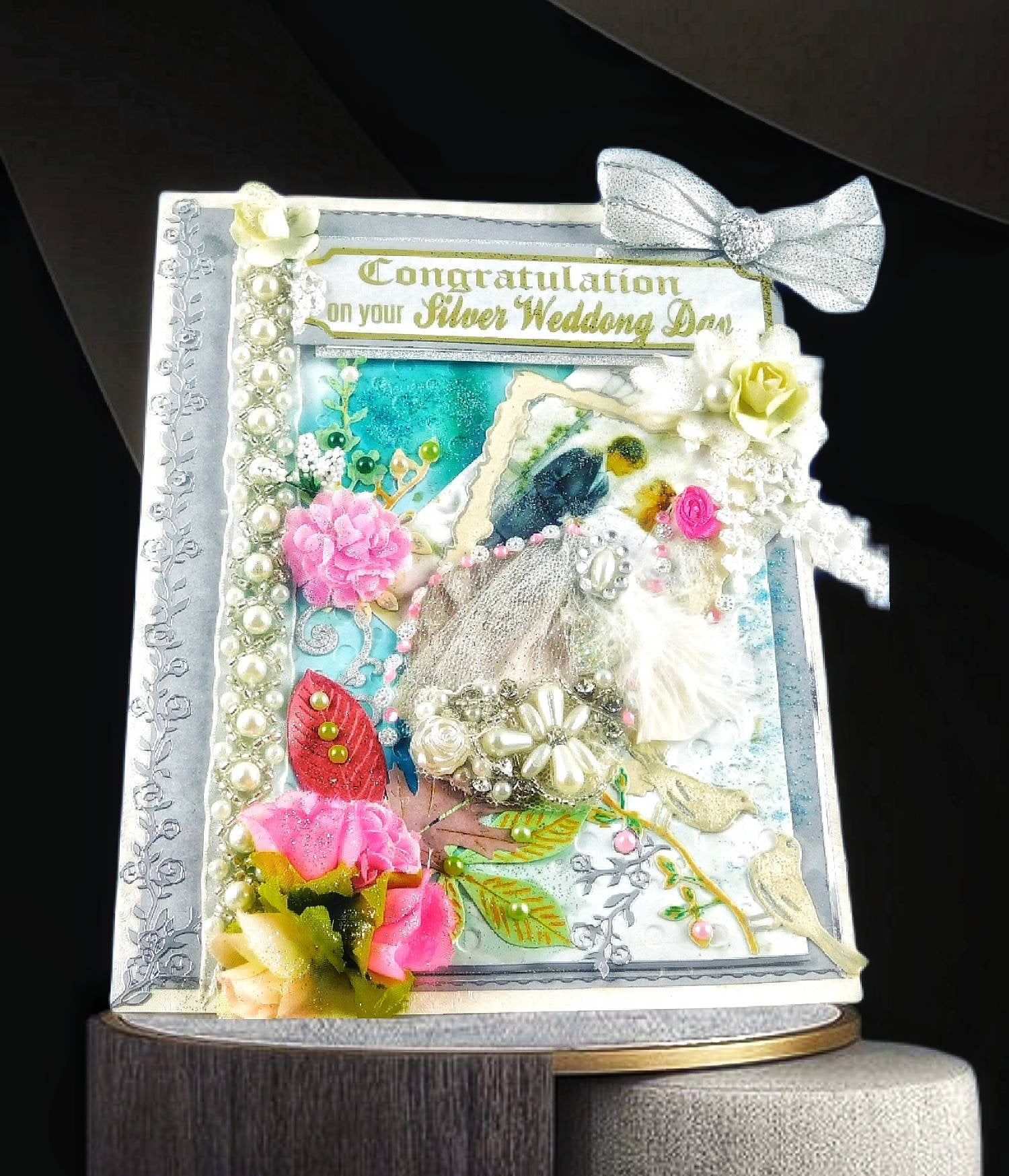silver anniversary card for parents couple friends
