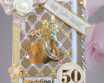 Personalized Gold Anniversary card.  Unique, Dancing couple card for family and friends. Wedding Day card, decorated inside and outside.