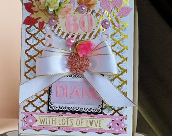 Personalized card box. Birthday  Custom box for Mom, Daughter, Sister, Wife, Friend. White box with satin ribbon, pearls and gold garnish.