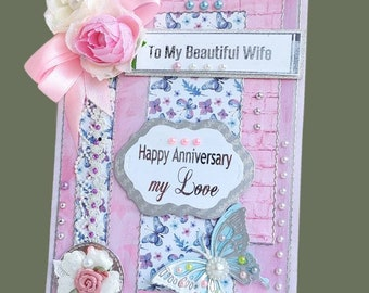 """Luxury, personalized Card """"To my beautiful Wife"""".  Ellegant anniversary card, multilayed in rose-purple with butterfly, silk flowers, lace ."""