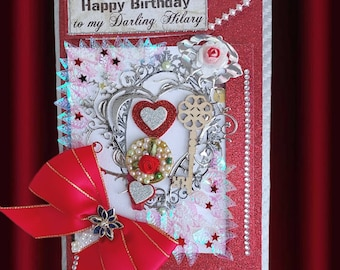 Custom, Holland red card of love for women. Personalized, Multilingual card with pressed flowers, elegant retro ribbon and a brooch.