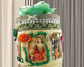 """Birthday gift box for girls """"12 Dancing Princesses"""". Kids playroom  storage bin, layered with fabric and personalized with a name tag."""