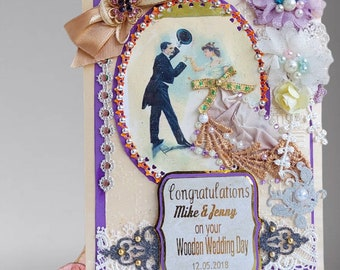 Wedding anniversary card. Perfect design in noble purple to make your friends feel special on their 5th Anniversary. Custom. Boxed.