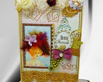 Custom card for wife with silk roses, luxury lace and pearls. Personalized. gold 3D card of love in retro style. Birthday greetings.