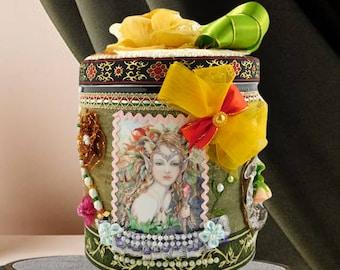 "Keepsake box girls. Girls room decor box ""Fantasy Forest Fairies"". Inspirational Birthday gift for kids, luxury wrapped, personalized."