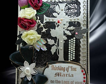 Personalized, pitiful card for loss of Mother, Wife, Sister, Family member. Elegant, Silver design, custom card for loss of beloved one.