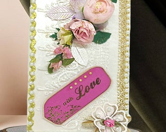 Custom elegant pearl box With Love. Luxury gift box for Wife, Girlfriend, Fiance, Daughter, Mom. Personalized  card box with roses & pearls.