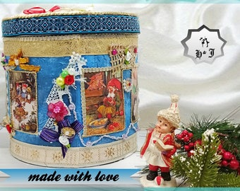 Boxes with gnomes. Memory box. Child keepsake box. Fairyland of gnomes. Toy storage. Boy room storage. Children gift box. Keepsake box girls